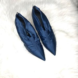 Zara Blue Satin High Heel Ankle Boots